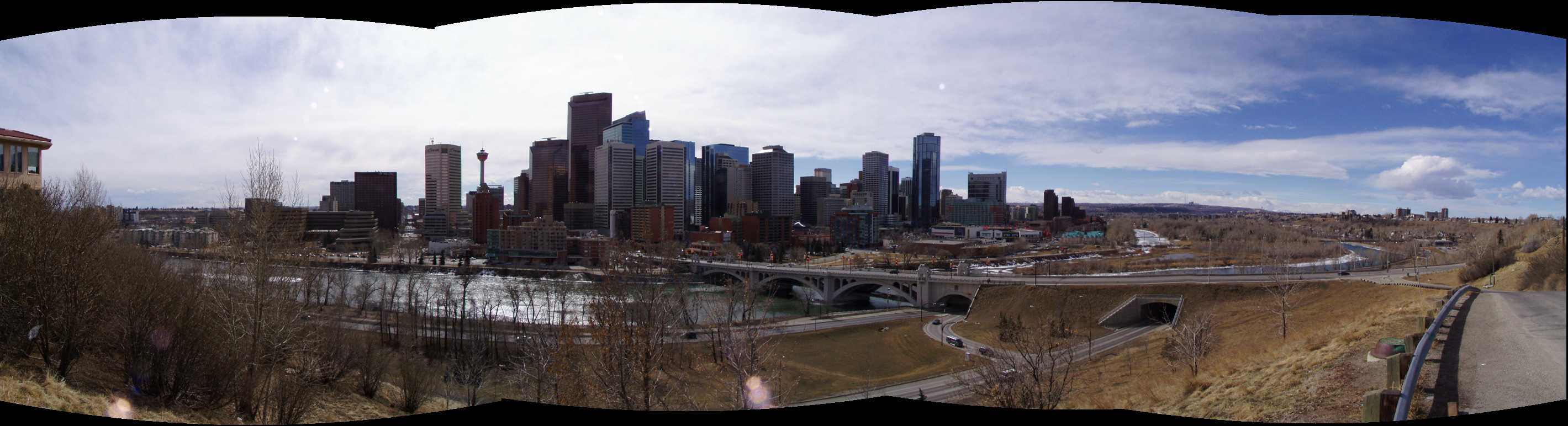 A panorama of Calgary in early spring