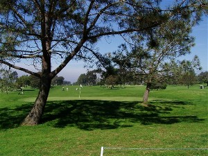 A picture from behind a green at Torrey Pines Golf Course in La Jolla, CA