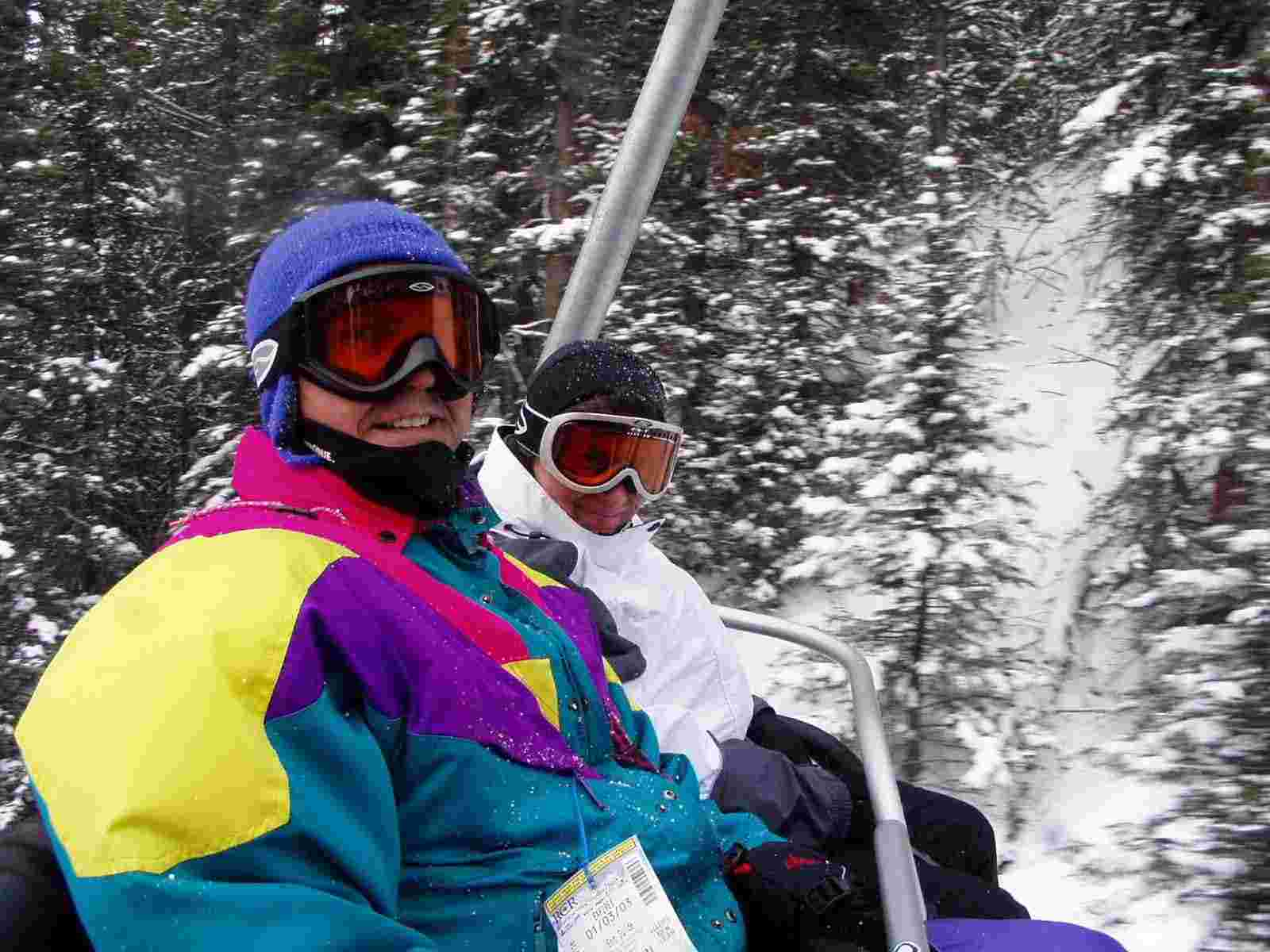 A picture of Jim and Sandra on the Larch chair at Lake Louise