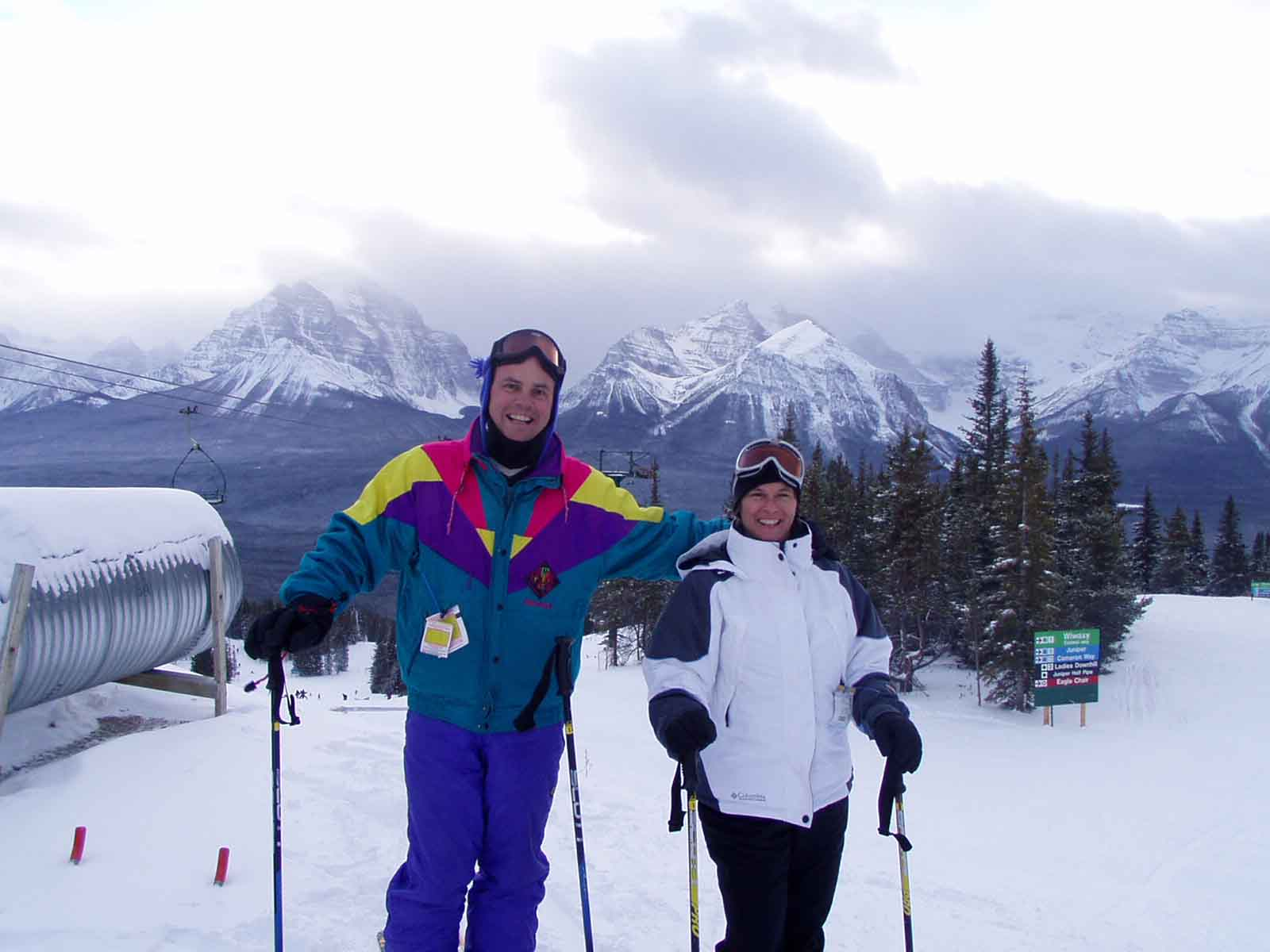 A picture of Jim and Sandra from the top of the Friendly Giant chair at Lake Louise