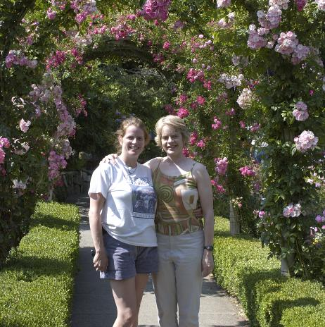 A picture of my sisters in the Rose Garden at Butchart Gardens