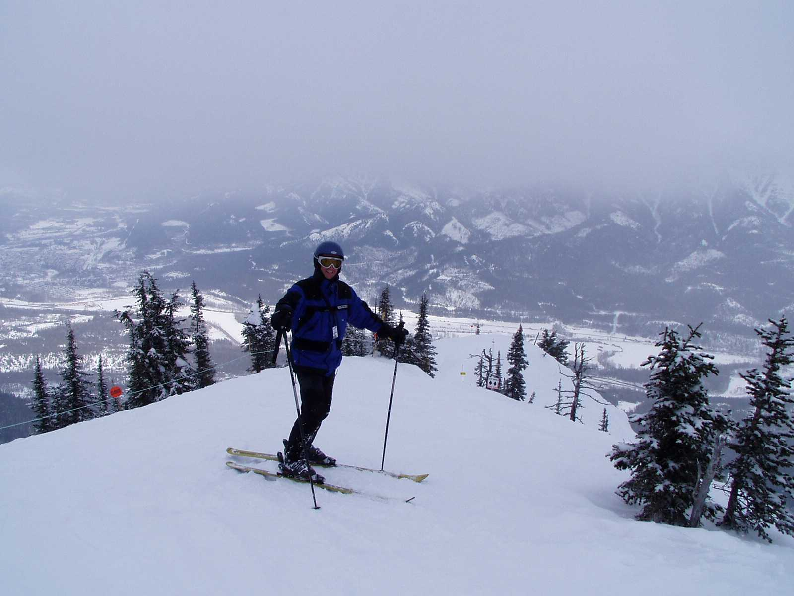 Pic of Eric from the top of the hill at Fernie -- you can see the townsite in the background (top left)