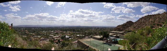 A picture of downtown Phoenix from Camelback Mountain