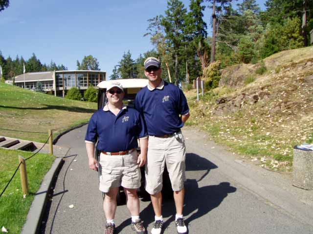 Picture of Phil and Doug on the first tee at Olympic View Golf Course