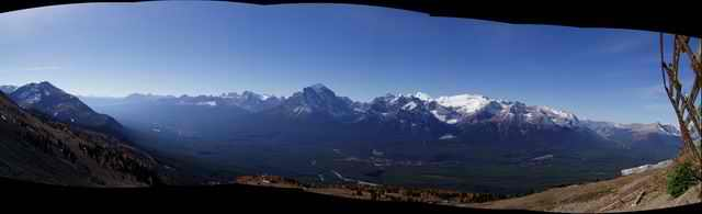 A panorama of the Bow Valley from near the 'bad weather' start of the Men's Downhill at Lake Louise